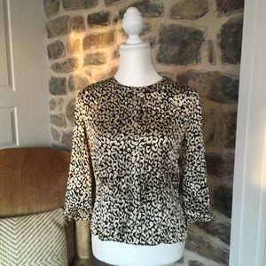 Women's j crew silk leopard blouse 0 peplum